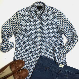 J. Crew Perfect Shirt in Blue Honeypie Print